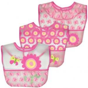 Green Sprouts Wipe Off 3 Pack Bib-Pink