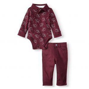 Garanimals Baby Boy Long Sleeve Polo Bodysuit & Solid Skinny Pants, 2pc Outfit Set