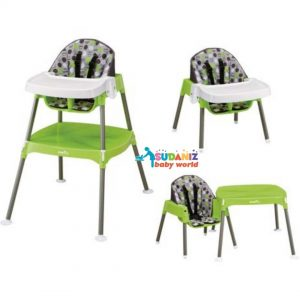 Evenflo 3 in 1 Convertible High Chair, Dottie Lime