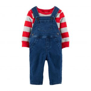 2-Piece Striped Tee & Overall Set