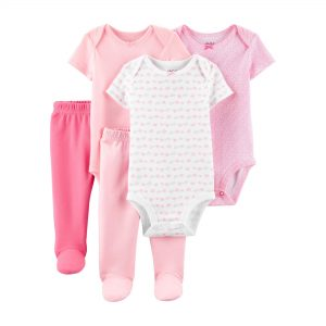 Child of Mine by Carter's Baby Girl Short Sleeve Bodysuits & Pants, 5-Piece