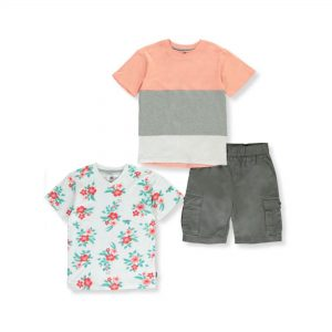 Beverly Hills Polo Club Boys Short Sleeve T-Shirts & Cargo Shorts, 3-Piece Outfit Set