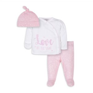 Gerber Baby Girl Take-Me-Home Shirt, Footed Pant, and Cap Set, 3pc
