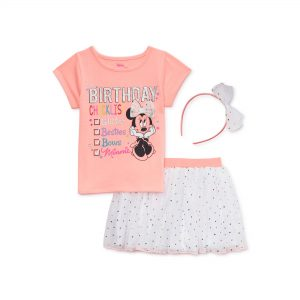 Minnie Mouse Baby Toddler Girl Birthday T-shirt, Skirt & Headband, 3pc Outfit Set